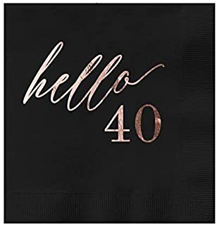 Hello 40 Black Beverage Cocktail Party Napkins 25 Pack with Rose Gold Foil Printing 4.75