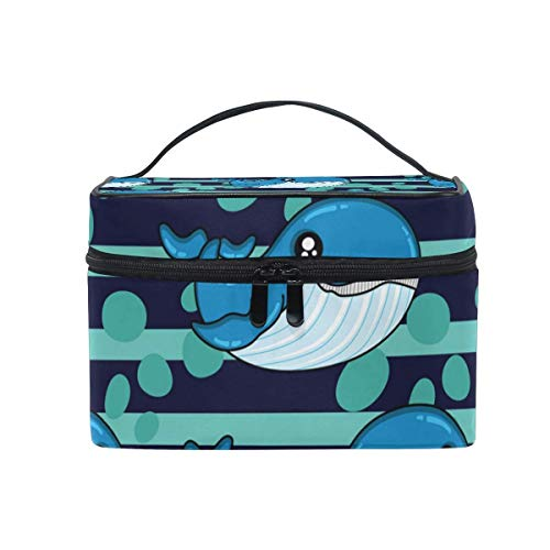 Vanity et Trousses à Maquillage Makeup Cosmetic Bag Marine Dolphins Green Dark Stripes Portable Travel Train Case Toiletry Bags Organizer Multifunction Storage Travel Daily Carry