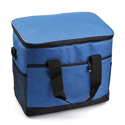 YANSHON 17L Food Cooler Bag Large Cool Box Foldable Ice Pack Cooler Ruck Sack Insulated Lunch Box Bag Cooler for Travel, Camping, BBQ, Picnic(with Shoulder Straps, Blue)