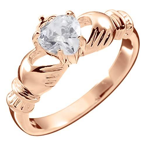 UPCO Jewellery Anillo Chapado en Oro Rosa 18Q, Claddagh Irlandes con Corazón de Cristal Blanco ? 7