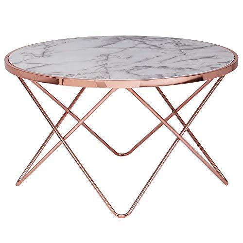 FineBuy Design Couchtisch Marmor Optik Weiß Rund Ø85 cm Kupfer Metall-Gestell | Großer Wohnzimmertisch | Beistelltisch