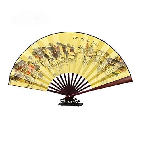 Abanico plegable Mano plegable ventilador bambú tela de madera grande 13 pulgadas...