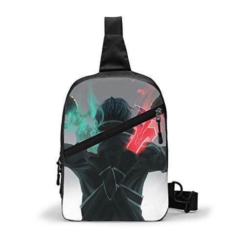 Hdadwy Sword Art Online Sling Bags Crossbody Hombres Mujeres Senderismo Daypacks Mochila de cámara Multiusos Gimnasio Bicicleta al Aire Libre Bolsa de Hombro en el Pecho