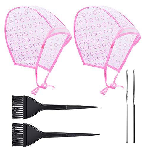 2 Set Hervorhebung Kappe, Haarefärben Zubehör mit Haarfärbepinsel und Metall Haken für Salon-und Heimgebrauch Haarfärbemittel