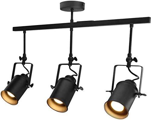 IW.HLMF Foco de Techo Industrial Bar 3 Lámpara Montaje de luz Ajustable en Carril de Metal Negro
