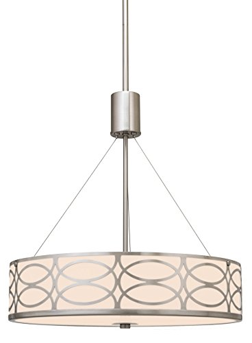 Kira Home Sienna Metal Drum + Glass Diffuser 3-Light Chandelier with Brushed Nickel Finish