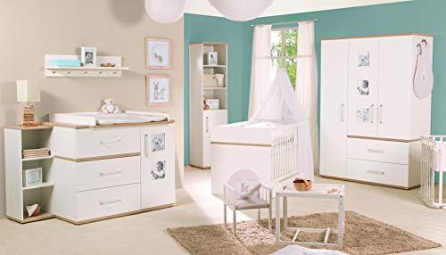 roba Komplett Kinderzimmer PIA, 3-TLG. (Kinderbett, Wickelkommode breit und 3-türiger Kleiderschrank), Weiß/Eiche Sand