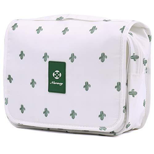 Reise Kulturtasche Zum Aufhängen Kulturbeutel Kosmetiktasche Waschtasche für Kinder Frauen Mädchen Damen (weißer Kaktus)