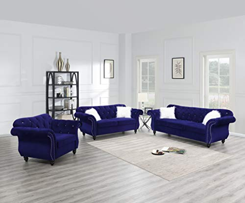 Esofastore Majestic Indigo Blue Velvet Fabric 3pcs Set Rolled Arms Sofa...