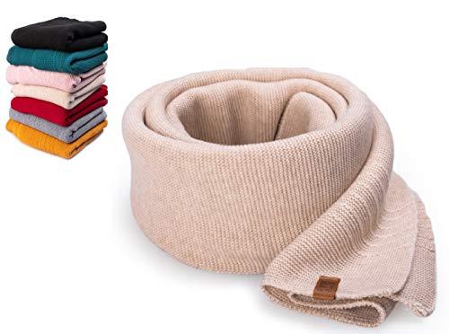 HEYO Damen Schal Winter Strickschal | H19603 | Weich Warm Gestrickt mit Leder Patch | Made IN EU (Beige)