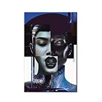 Suuyar 肖像画のポスターとプリント壁に抽象的なセクシーな女性キャンバス絵画リビングルームの家の装飾のための壁の芸術の写真-60X90Cmフレームなし