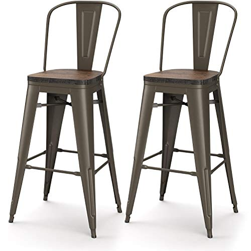 VIPEK 30 Inches Metal Bar Stools 30' Height Barstool with Solid Elm Wooden Seat High Back Commercial Grade for Indoor Kitchen Restaurant Dining Chairs Outdoor Patio Bistro, Set of 2, Gun Color