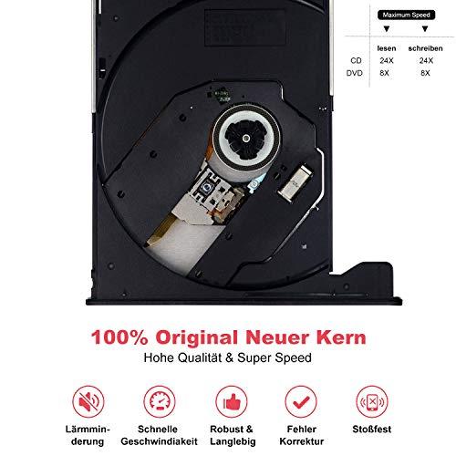 Externes CD DVD Laufwerk USB3.0 Typ C,mit SD/TF-Kartenleser Portable DVD/CDBrenner,schnelle Datenübertragung,Plug&Play,für Laptop,Desktop,MacBook