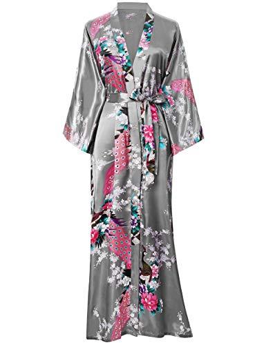 BABEYOND Women's Kimono Robe Long Robes with Peacock and Blossoms Printed Kimono Outfit (Silver Gray)