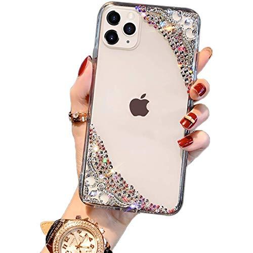 AIJOAIM Funda para iPhone 12/12 Pro Carcasa Transparente de Diamantes 3D Funda Brillante Glitter Back Cover Flexible de TPU A Prueba de Golpes,iPhone 12 Mini