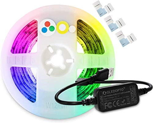 5V ZigBee Mini USB RGB CCT Controller Kit With 2M LED Strip Light TV Backlight Color Changing and Dual White ZigBee Light Link App Compatible with ZLL Bridges Hub
