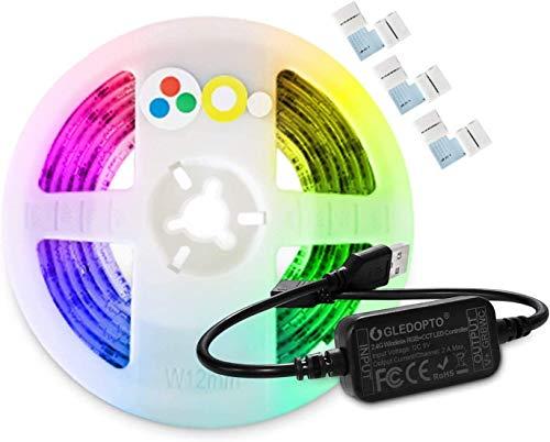 ZigBee - Kit de controlador CCT (5 V, mini USB, RGB, con tira LED de 2 m, cambio de color y aplicación ZigBee Light Link, compatible con hub de puente ZLL