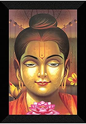 SAF 'Buddha' UV Teatured Digital Reprint Framed Painting (20 inch X 14 inch) SANFM65
