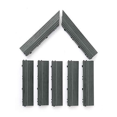 PANDAHOME Wood Plastic Composites 7 Pack Loop Ends Side Trim Piece Interlocking Flooring in WPC, Westminster Gray (7, Gray)