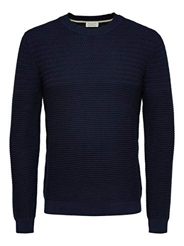 SELECTED HOMME Male Pullover Bio-Baumwoll MNavy Blazer