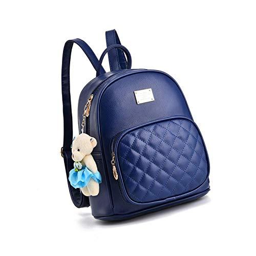 Mini Cute Pu Leather Backpack Casual Waterproof School Bag Travel Navy Blue