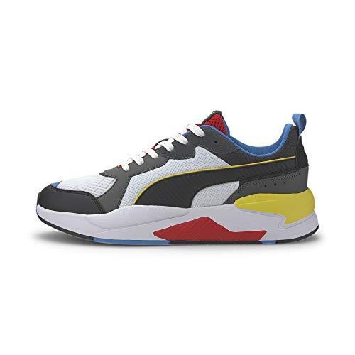 PUMA Unisex X-Ray Sneaker, White Black-Dark Shadow-High Risk Red-Palace Blue, 40.5 EU