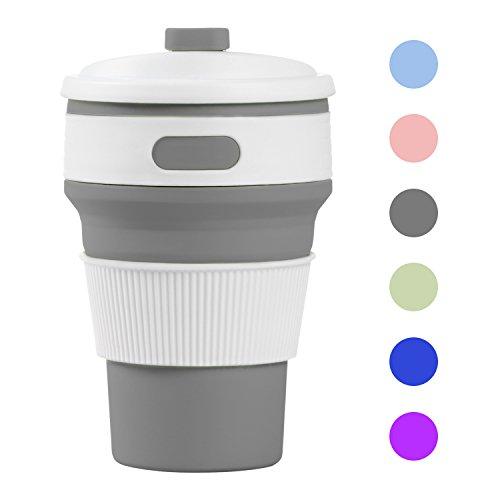 Misswonder zusammenklappbare Silikon-Kaffee-Tasse, wiederverwendbar faltbare Tasse, Thermobecher auslaufsicher-Flasche Sky Gray