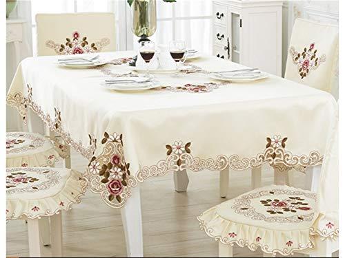 Kxrzu Groß Rechteck-Elegante Stickerei-Tischdecke-Moderne europäische rustikale Tabellen-Abdeckung für Hausgarten