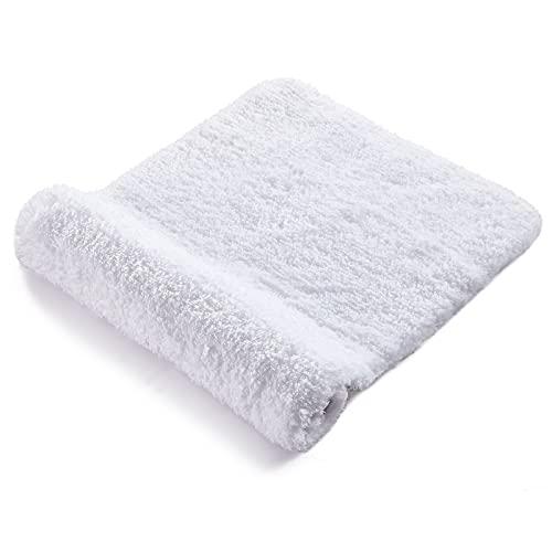 RiyaNed Alfombra de baño Antideslizante, Alfombra baño Blanco,Absorbente, Suave y esponjosa, para bañera, Ducha y baño, Lavable a máquina, fácil de Limpiar (Blanco, 40 x 61)