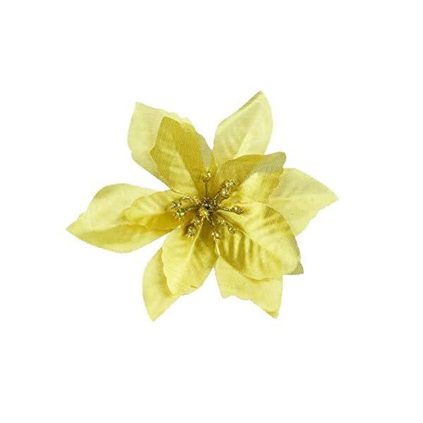GCDN 10 Piezas Flores Artificiales Brillo Flor de Pascua decoración del árbol de Navidad Maceta Flores Decorativas…