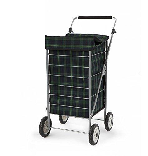 Sabichi 184184 Angus Blue & Green Tartan 4 Wheel Shopping Trolley, 60ltr Capacity, 98 x 48 x 62cm