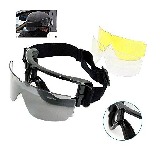 risingmed Tactical Airsoft Schutzbrille, Airsoft Paintball Shooting Schutzbrille Brille, Schutz Eyewear mit 3austauschbaren Multi Lens (schwarz + transparent + Gelb), mit Tragetasche