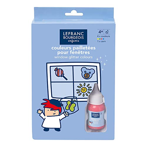 Lefranc und Bourgeois 807363 Kinder Fensterfarbe im Set, wieder abiehbare Farbe für Kühlschränke, Spiegel & Tassen zu dekorieren - Glitter Set