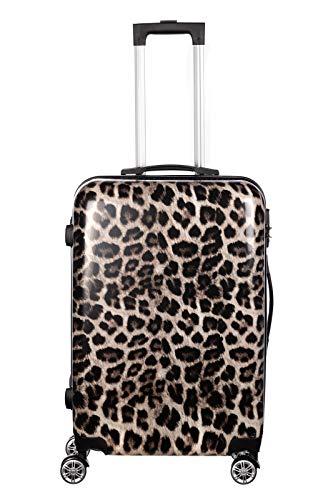 Birendy Reisekoffer Polycarbonat Hartschalen Hardcase Trolley mit Zahlenschloss Koffer Kofferset 4 Rollen einfacher Transport (59-Leopard, Koffer XL 65x45cm)