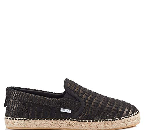 Luxury Fashion | Jimmy Choo Heren VLADCRKBLACK Zwart Leer Espadrilles | Seizoen Permanent