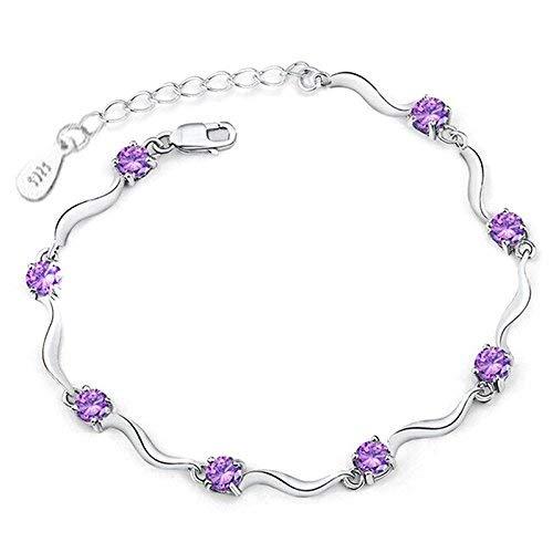Pulsera elástica para mujer con cristales plateados, ajustable, con cadena ondulada, para mujer, color morado