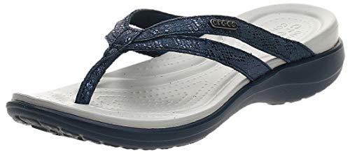 Crocs Capri Strappy Flip W, Tongs Femme, Bleu (Navy/Navy), 41 EU