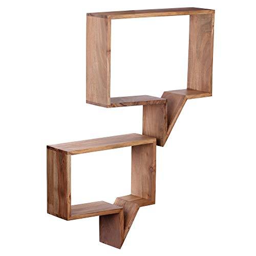 FineBuy 2er Set Wandregale Massiv-Holz Akazie Holz-Regal Landhaus-Stil Hängeregal Echt-Holz Design Wand-Board Natur-Produkt Wandkonsole dunkel-braun unbehandelt Regale zum Aufhängen Unikat Ablage