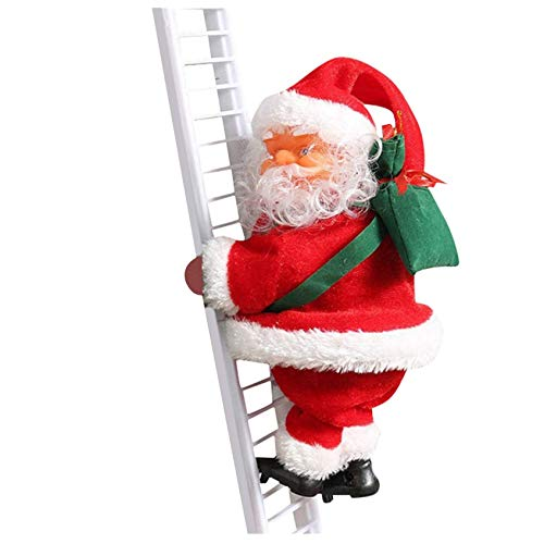 Electric Santa Claus Climbing Ladder Doll Xmas Tree Hanging Decorations Plush Doll Toy, Automatically Rope Ladder Battery Operated Santa with Music, Xmas Ornament for Indoor Outdoor Decoration (2)