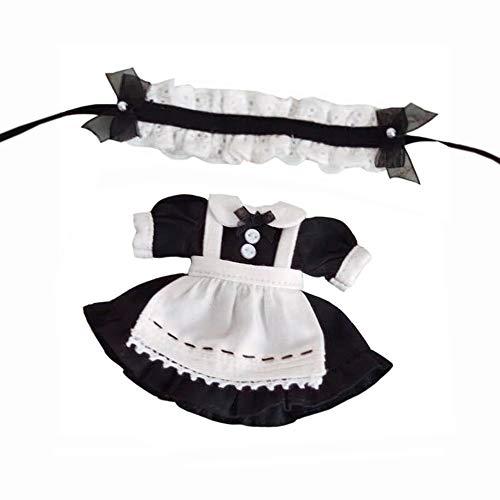 オビツ11 OB11 サイズ衣装 オビツドール 11cmボディ用 メイド服 3点セット 2色 (ブラック)