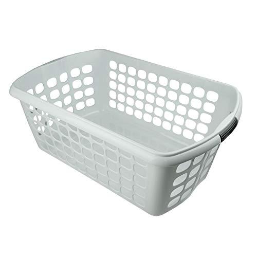 HRB Wäschekorb Plastik (weiß), 44L Wäsche Box Volumen, Wäschesammler mit 59,5 x 39 x 23cm Außenmaß, Wäsche Sortierer groß, Aufbewahrungskorb