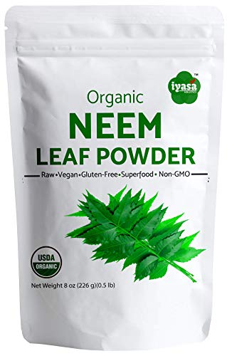 USDA Organic Neem Leaf Powder, Trial Pack of 8oz /223 Gm, Azadirachta Indica, Ayurveda herb, Supports Blood and Liver Purification, Promotes Healthy Hair and Clear Skin Complexion, Resealable Pouch
