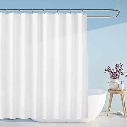 Carttiya Duschvorhang 240x200cm Textil Bad Vorhang aus Polyester, Anti-Schimmel, Wasserdichter, Waschbar Stoff Badezimmer Vorhang Shower Curtains mit 16 Duschvorhängeringen und Beschwertem Saum