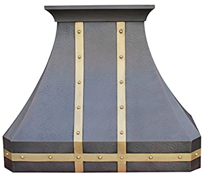 Copper Vent Hood with Professional Range Hood Insert Fan Hammered Texture Decorative Brass Straps and Rivets Sinda H3LBST