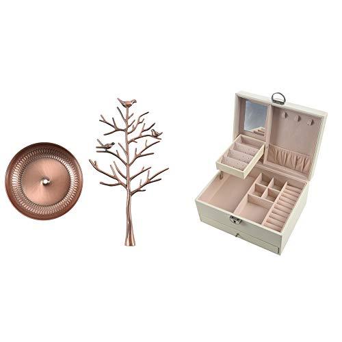 TOOGOO 1 soporte de joyería de árbol de metal estante de exhibición de cobre rojo y 1 pulsera de cuero caja de joyería collar (blanco)