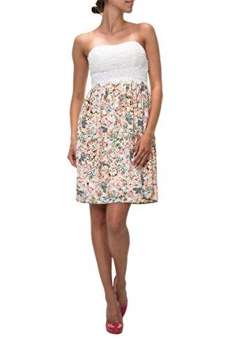 Hailys Damen Bandeau Kleid Sommerkleid Bustierkleid Korsagenkleid (L, Offwhite/Print 1)