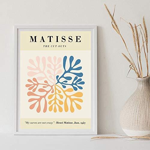 Hoja HD Impresión Pintura abstracta Arte de la pared Pintura de Henri Matisse Carteles e impresiones, Lienzo sin marco familiar Pintura A2 50x75cm