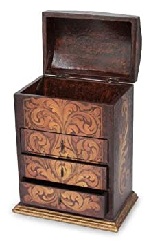 NOVICA Floral Motif Cedar Wood Jewelry Box with Drawers and Hinged Lid Love Blossom