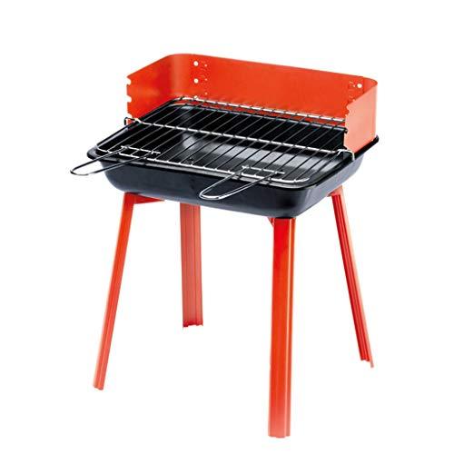 Holzkohlegrill, Edelstahl tragbarer Klappkohle-BBQ-Grill-Rauchergrill perfekt für Camping im Freien Camping Wandern Picknickpartei (Color : Red)