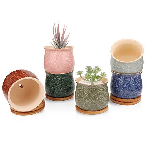 Ufrount Ceramic Succulent Planter Pot with Drainage, Sand Glaze Planter Pots Planting Pot Flower Pots for Mini Plant Ceramic Flowing Glaze Base Serial Set with Drainage Holes - Set of 6 (6 Colors)